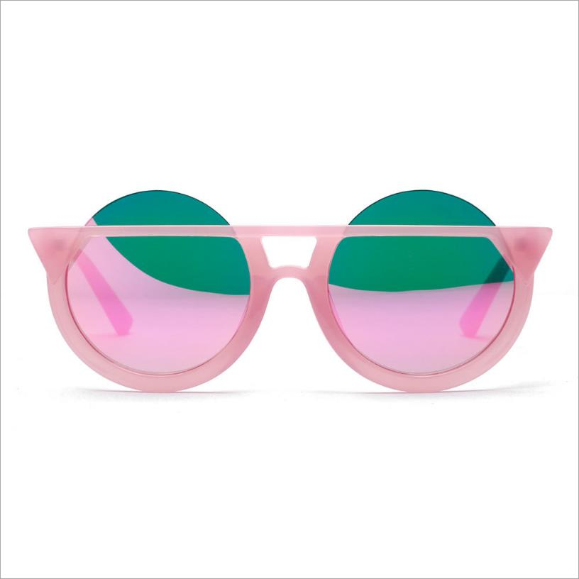 WINFUL Personality Cat Eye Sunglasses Women Big Round Coating Reflective Pink lens sun glasses fashion cut eyewear Novelty in Women 39 s Sunglasses from Apparel Accessories