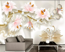 beibehang Custom size 3D three-dimensional embossed magnolia European retro TV background wall painting wallpaper behang