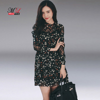 Fitaylor 2017 Spring And Summer Women Black Floral Chiffon Mini Dress Casual Sexy Vintage Lace Long
