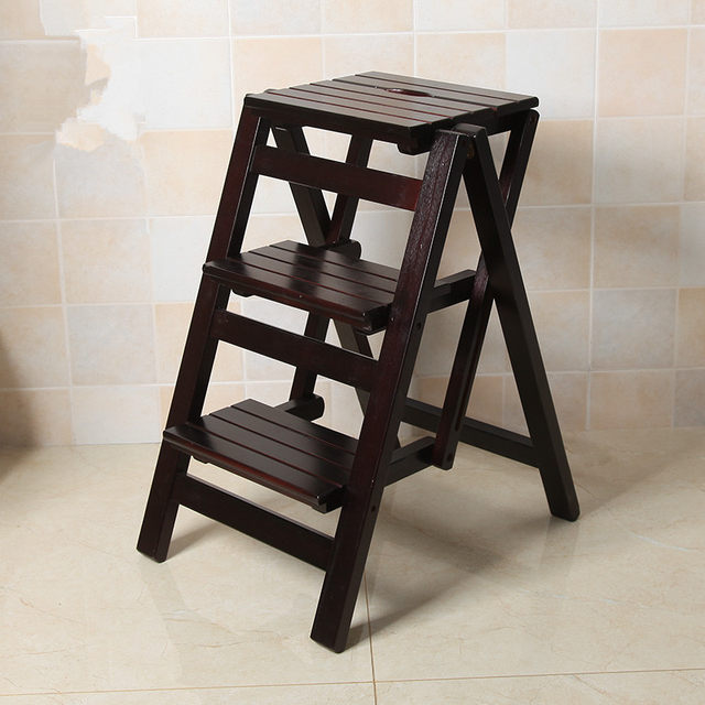 Multi Functional Ladder Stool Chair Bench Seat Wood Step Folding 3 Tier For Any Task Around The Kitchen Office Bathroom