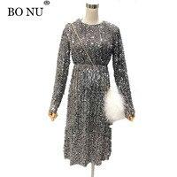 BONU Spring Sparkle Sequined Dress Women Elegant Lady Long Shimmer Dresses Slim Women O Neck Long
