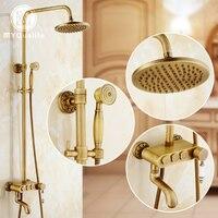 2016 neue Design Messing Antik Dusche Wasserhahn Dusche Panel Einzigen Handgriff 3 Umsteller Knöpfe Dusche Mischbatterien Swivel Wanne-füller
