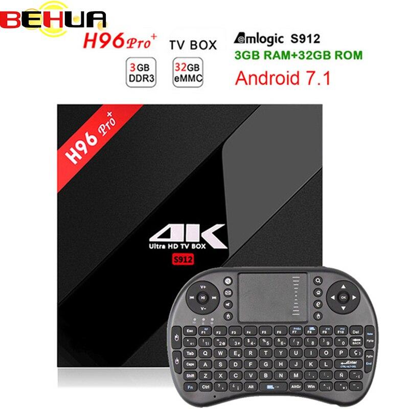 [Véritable] h96 pro plus 3g 32g Smart TV Box Android 7.1 Amlogic S912 OCTA Core Wifi 4 k H.265 h96 media player h96pro set top box