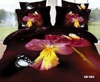 3D Цветочный фиолетовая бабочка California King Постельные принадлежности наборы для взрослых одеяло пододеяльник установлены Кровать в мешке лис...
