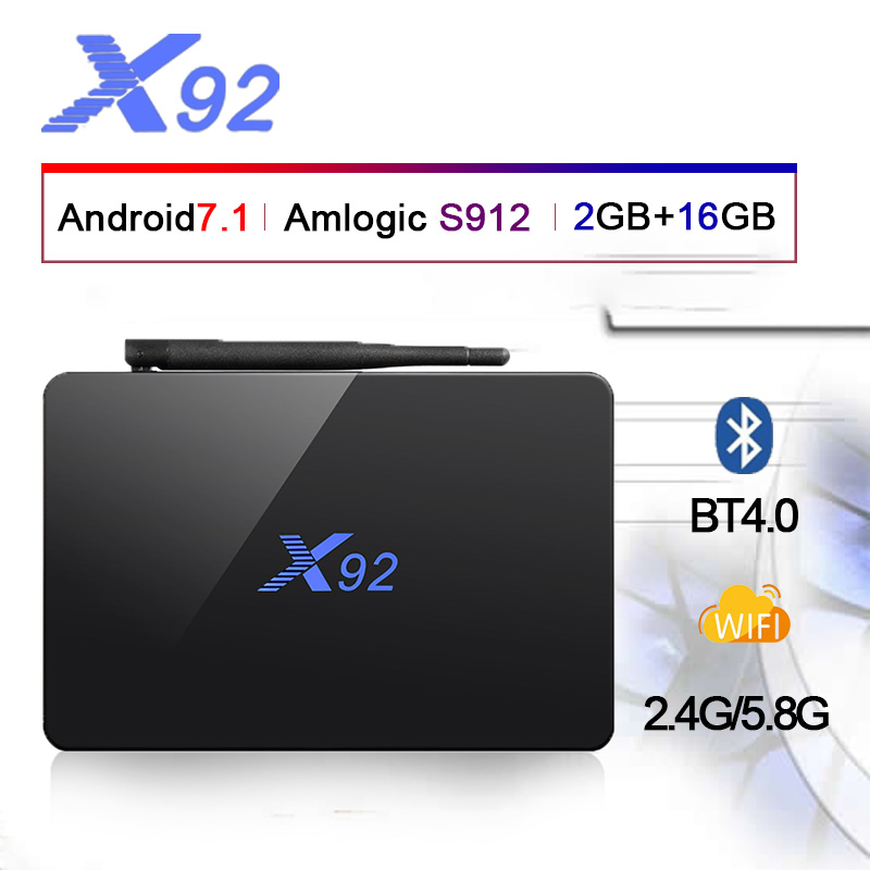 HOT! X92 Android 7.1 Smart TV BOX 4K H.265 Amlogic S912 bluetooth 2.4G 5G wireless WIFI Set Top Box PK H96 max MX9 proHOT! X92 Android 7.1 Smart TV BOX 4K H.265 Amlogic S912 bluetooth 2.4G 5G wireless WIFI Set Top Box PK H96 max MX9 pro