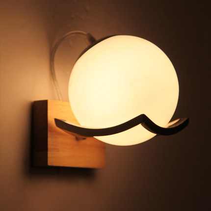 Creative Ball Glass Wall Sconce Simple Modern Wooden LED Wall Light Fixtures For Bedroom Wall Lamp Home Lighting Lamparas цена