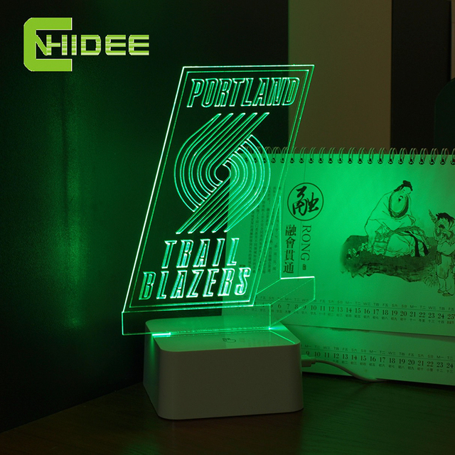 CNHIDEE 3D Lamp USB Novelty for Portland NBA Basketball Fans LED Night Light as Creative Gifts or Home Decor