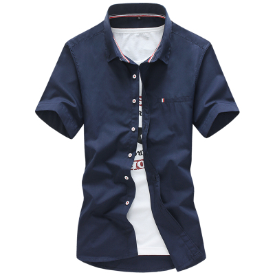 2016 Classical New Men's Solid Color Shirts Male Cotton Short Sleeve blouse social dress shirts chemise homme