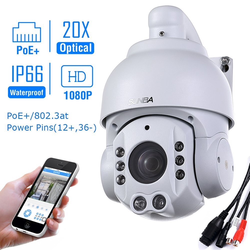 SUNBA 2.0 MP 1080P HD PoE+ 4.7~94.0mm 20X Optical Zoom IR-Cut Night Vision PTZ Outdoor IP Security Dome Cameras ONVIF p2p 2 0 m1080p hd4 7 94 0mm20x optical zoom ir cut night vision ptz outdoor ip security speed dome cameras onvif