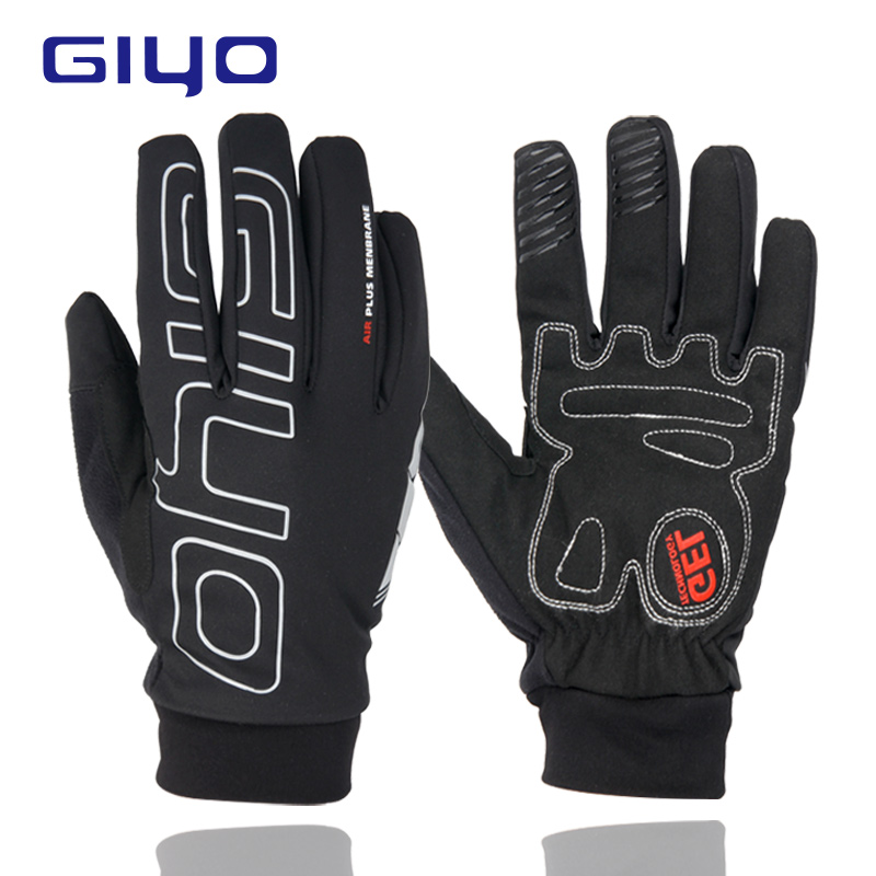 цена на GIYO Waterproof Full Finger Cycling Gloves Touch Screen Road MTB Mountain Bike Gloves Reflective Bicycle Gel Pad Cycling Gloves
