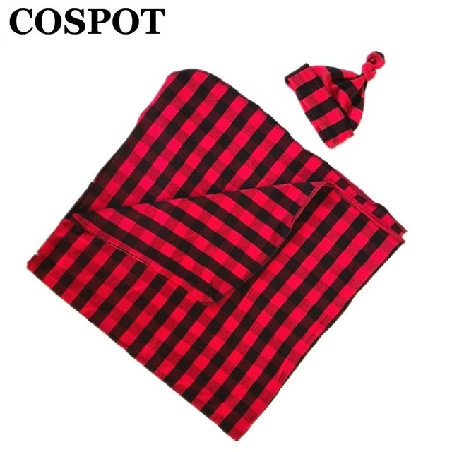 COSPOT  Newborn Christmas Swaddle Blankets Red Plaid Blanket+Hat Bebes Baby Swaddles Toddler Infant Hold Wraps Custom-made E25