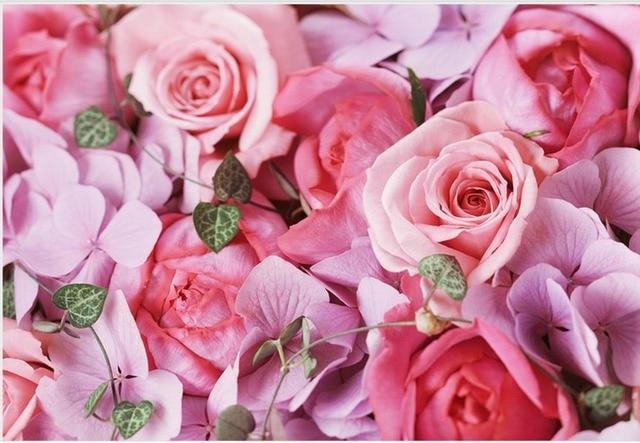 Peintures Murales De Papier Peint Fleurs Rose Rose Toile De Fond