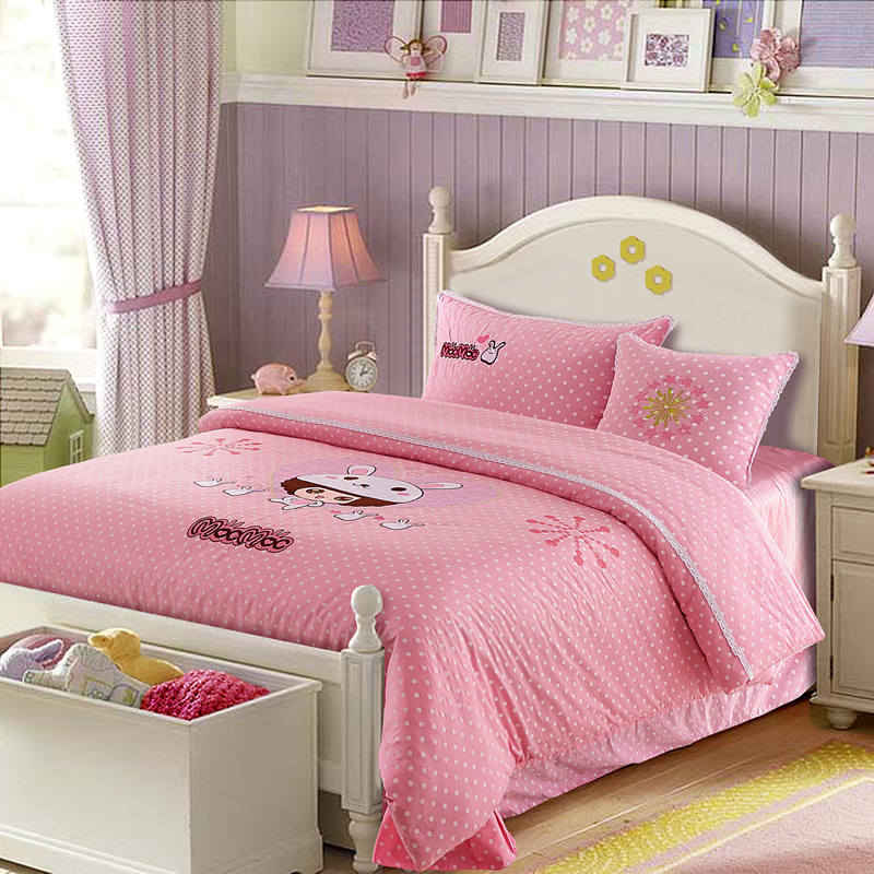 Pink Rabbit Girls Polka Dot Applique Embroidered Bedding Sets Twin Full Queen Size Duvet Covers Bedspreads Cotton Woven ChildrenPink Rabbit Girls Polka Dot Applique Embroidered Bedding Sets Twin Full Queen Size Duvet Covers Bedspreads Cotton Woven Children