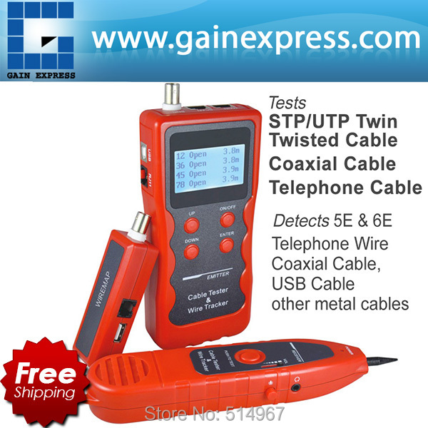 Multipurpose LCD Cable, Network, Coaxial, Telephone, USB Cable, Twin Twisted Wire, Metal Cable Tester Testing cable