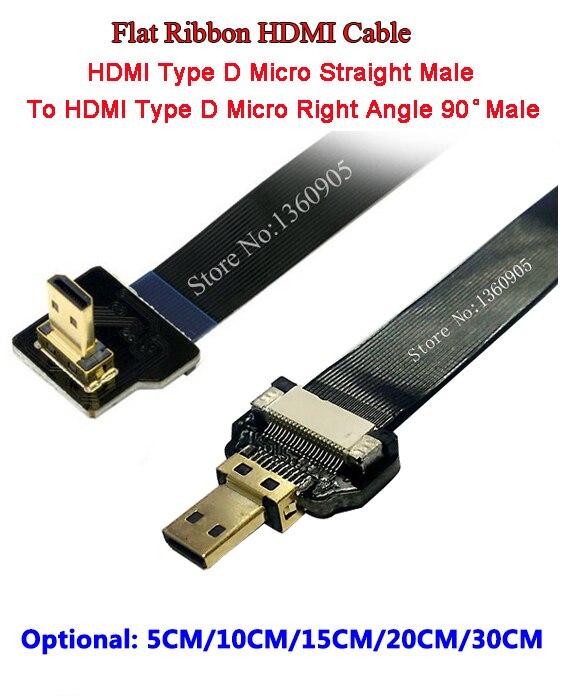 Ultra Thin Micro HDMI Right Angle 90 Degree Male To Micro HDMI Straight Male Flat Ribbon Cable- 5CM/10CM/15CM/20CM/30CM Optional