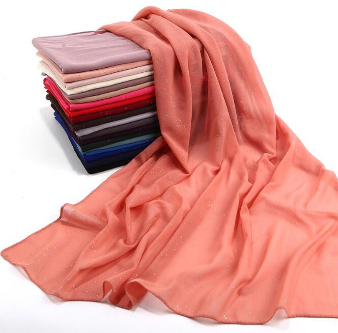 Fashion Women Solid Plain chiffon Gold powder sequins   Scarf     wraps   soft long islam foulard shawls muslim georgette   scarves   hijabs