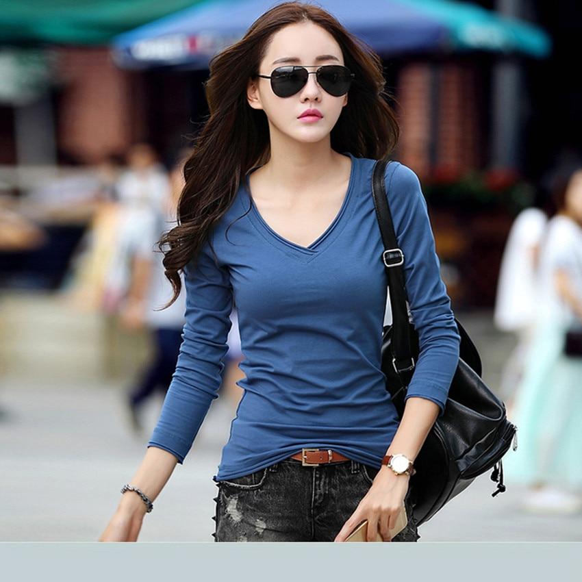 New 2017 T Shirt Women Long Sleeve Cotto