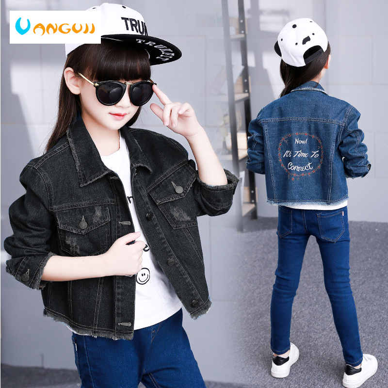 girls denim jacket 4-13 years old spring coat fashion Burr embroidered flowers childrens outwear Washed hole all match