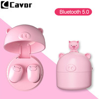Bass Music Wireless Bluetooth Earphone for Huawei Mate 20 Lite Pro 20X Case Cute Pink Pig Earpiece Earbud With Charge Power Bank