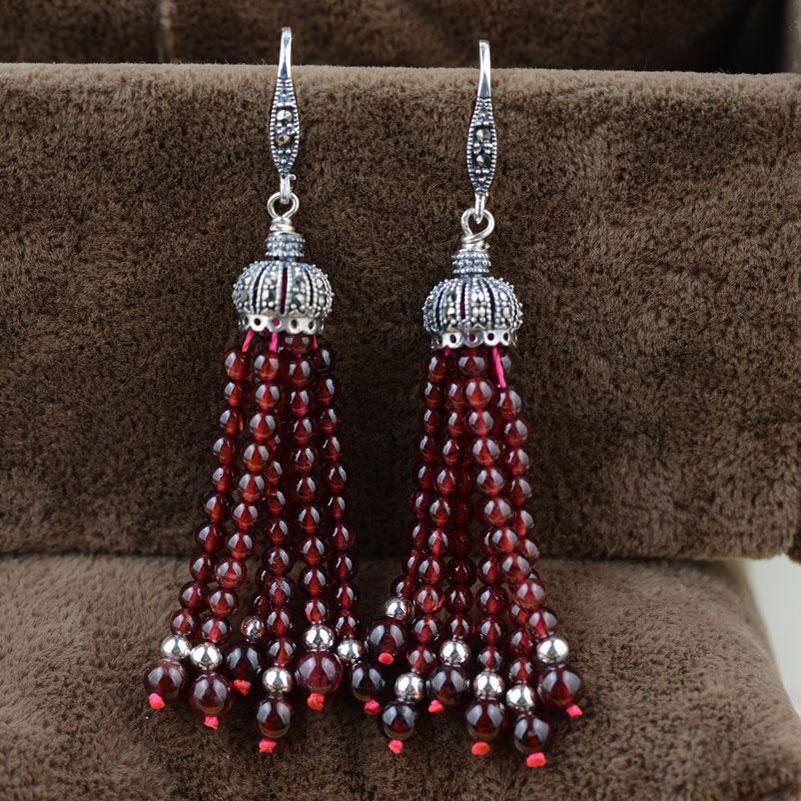 цена FNJ 925 Silver Tassel Drop Earring Natural Garnet MARCASITE S925 Sterling Silver Earrings for Women Jewelry