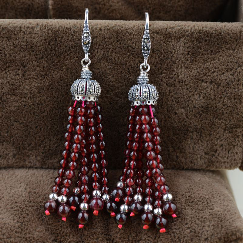 FNJ 925 Silver Tassel Drop Earring Natural Garnet MARCASITE S925 Sterling Silver Earrings for Women Jewelry