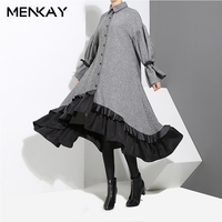MENKAY 2018 Spring New Long Sleeve Bandage Large Hem Ruffles Irregular Loose Shirt Dress Women