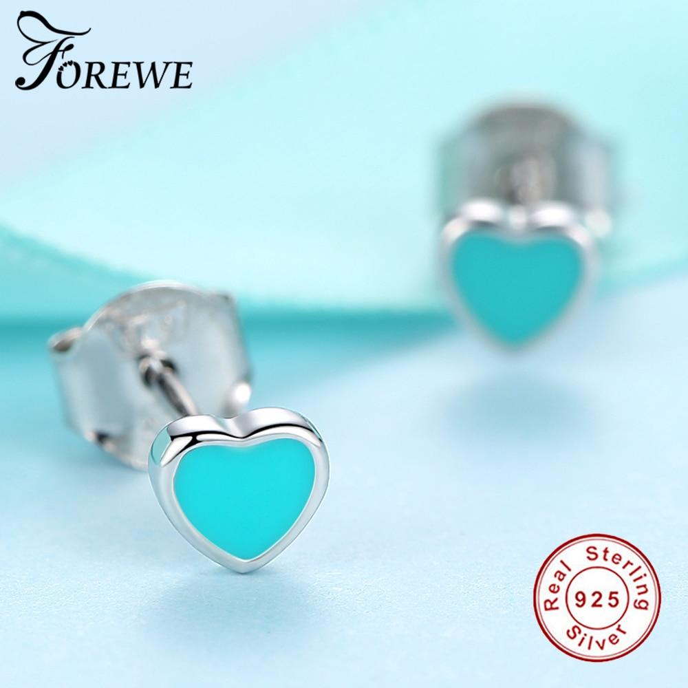 8afd27de3 925 Sterling Silver Cute Small Pink and Blue Enamel Heart Stud Earrings For  Women Girls Children Baby Kids Fine Jewelry-in Stud Earrings from Jewelry  ...