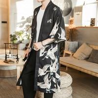 Japanese Style Kimono Cardigan Men Samurai Costume Traditional Clothing Loose Print Kimono Jacket Mens Yukata Haori Shirt