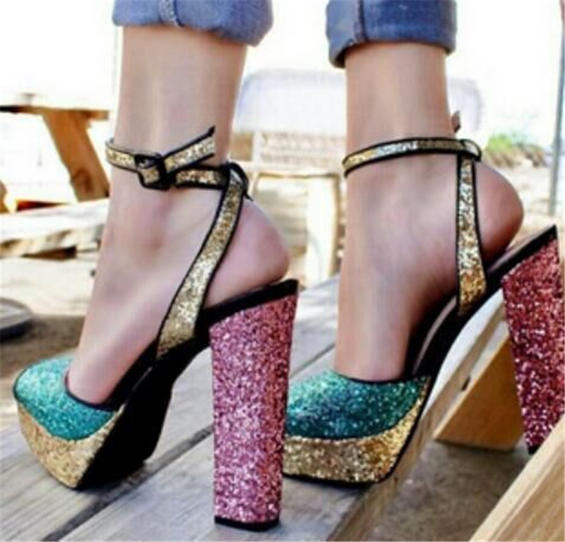все цены на Sestito 2018 Ladies Bling Bling Glitter Mixed Color Square Thick High Heels Dress Wedding Shoes Woman Open Toe Gladiator Sandals