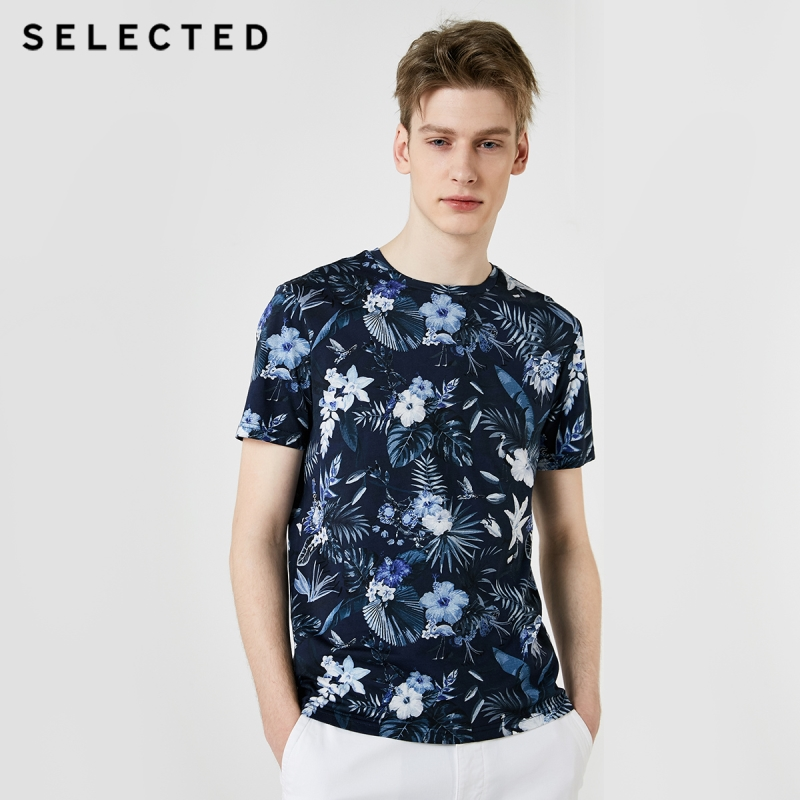 SELECTED Men's Summer 100% Cotton Printed Short-sleeved T-shirt S|419201579
