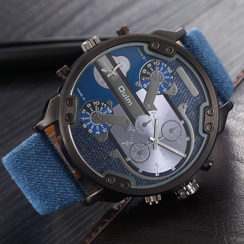 Desainer terkenal Mens Jam Tangan Atas Merek Mewah Kuarsa Menonton Oulm PU Kulit Big Dial Militer Quartz Jam relogio masculino