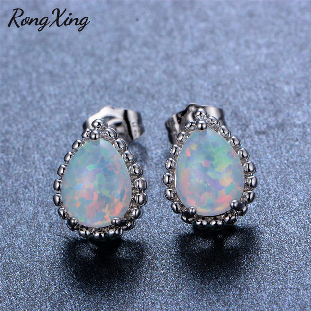 74e9e9b5a RongXing 925 Sterling Silver Filled Opal Stud Earrings for Women Fashion  White Fire Opal Earring Vintage Wedding Jewelry Ear0722