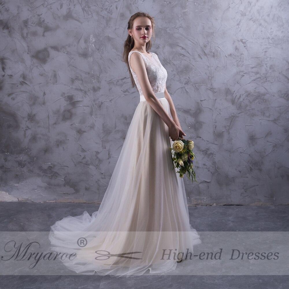 Mryarce Beach Wedding Dresses Illusion Neckline Lace Appliques ...
