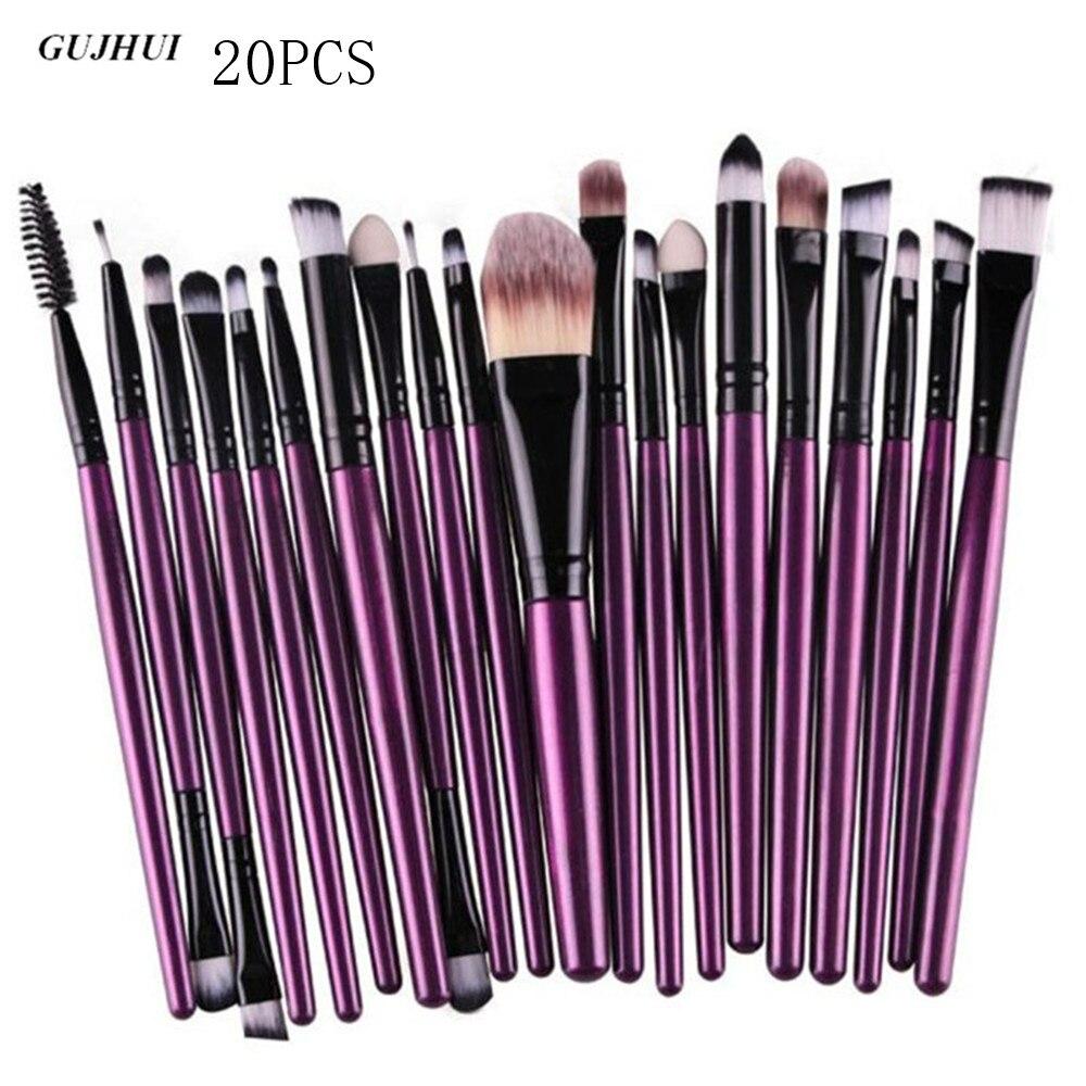 GUJHUI 20 Pcs ouro Rosa Pincéis de Maquiagem Pro Sombra Delineador Lip Blush Em Pó Foundation Beleza Cosméticos compo a Escova ferramenta