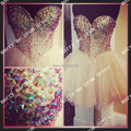 New Fashion Cocktail Dresses High Quality Formal Dresses Beaded vestido de festa Prom Gown Tulle Short Homecoming Dresses