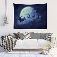 Xmas Elk Santa Claus pattern wall Tapestry Hanging Colorful Wall blanket Beach Cover Up tree printed psychedelic