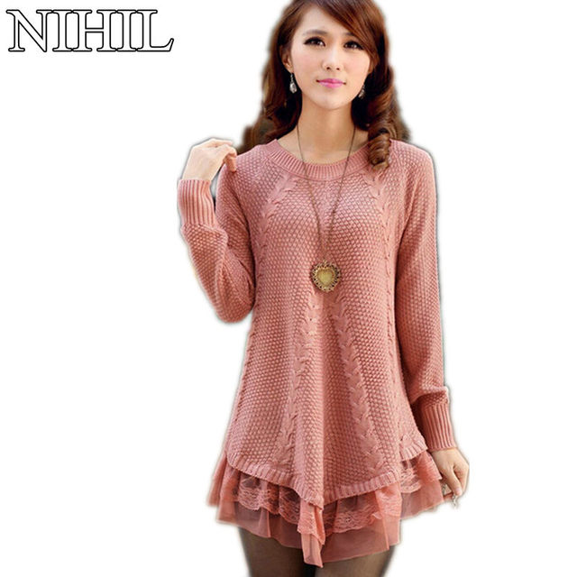 Lace Women Sweater Dress Oversized Long Sleeve Pink Knitted ...