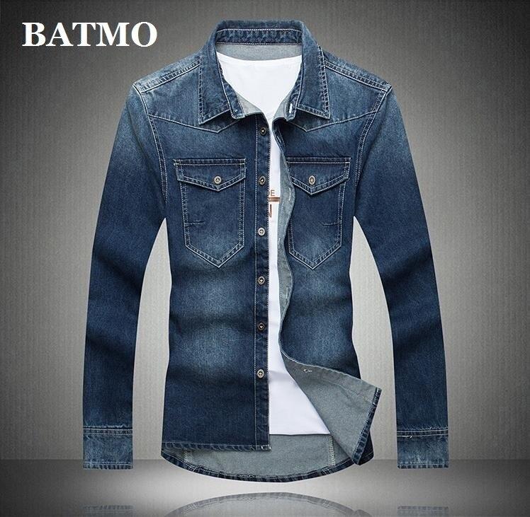 Batmo 2019 New Arrival Summer High Quality Cotton Casual Men's Denim Shirt,smart Casual Shirt Men ,plus-size M-5XL 5508