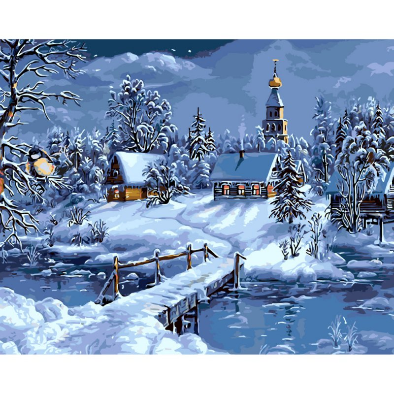 Mahuaf I108 Winter Snow House Landscape Canvas Painting Paint By