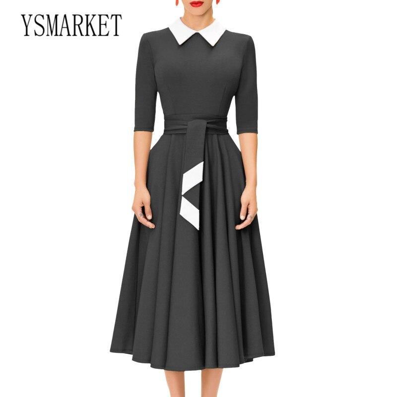 YSMARKET noir Fit et Flare robe dames travail de bureau formel Turn Down col à manches longues mi-mollet robes Vintage vêtements de fête