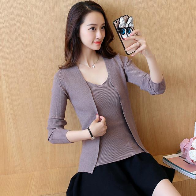 58 nuevo otoño Coreano F1195 elásticos Para Mujer de dos piezas de la rebeca de lana suéter delgado femenino