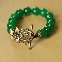 Ethnic Tibetan jewelry wholesale retro Lotus Lucky Malay jade green agate bracelet C 050