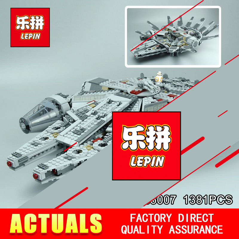 Lepin 05007 Star 1381pcs Toy Wars the classic Millennium toy Falcon Toys building blocks marvel Kids BB-8 Compatible 10467 star wars 7 darth vader millennium falcon figure toys building blocks set marvel kits rey bb 8 compatible toy gift many types