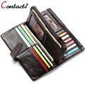 CONTACT'S Genuine Leather Men Wallets Male Purse Famous Brand Long Men Clutch Bags Credit Card Holder Phone Money Bag 2017