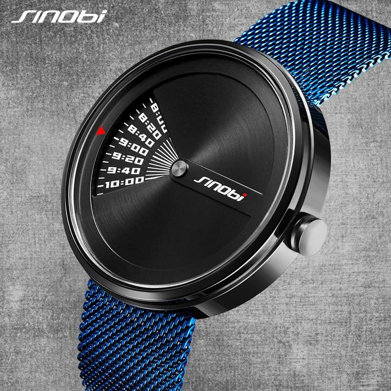 SINOBI Luxury Stainless Steel Wrist Watch Men's Blue Fashion Quartz Watch Montre Homme 2018 Top Brand Creative Men Watches #9784 geneva men s luxury fashion creative stainless steel quartz wrist watch
