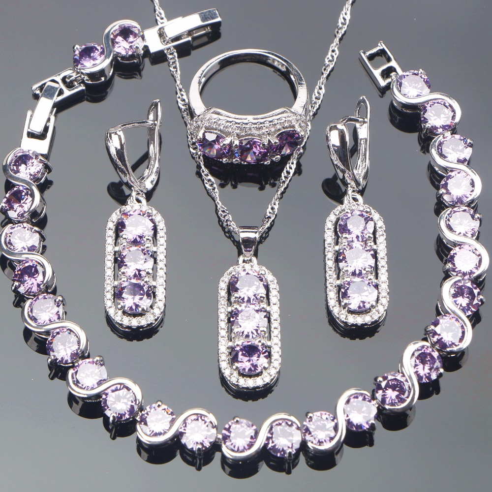 Women 925 Sterling Silver Bridal Jewelry Sets Ring Bracelet Necklace Earrings Ladies Jewel