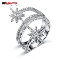 LZESHINE New Luxury Star Rings For Women 100 925 Sterling Silver Finger Rings With AAA CZ