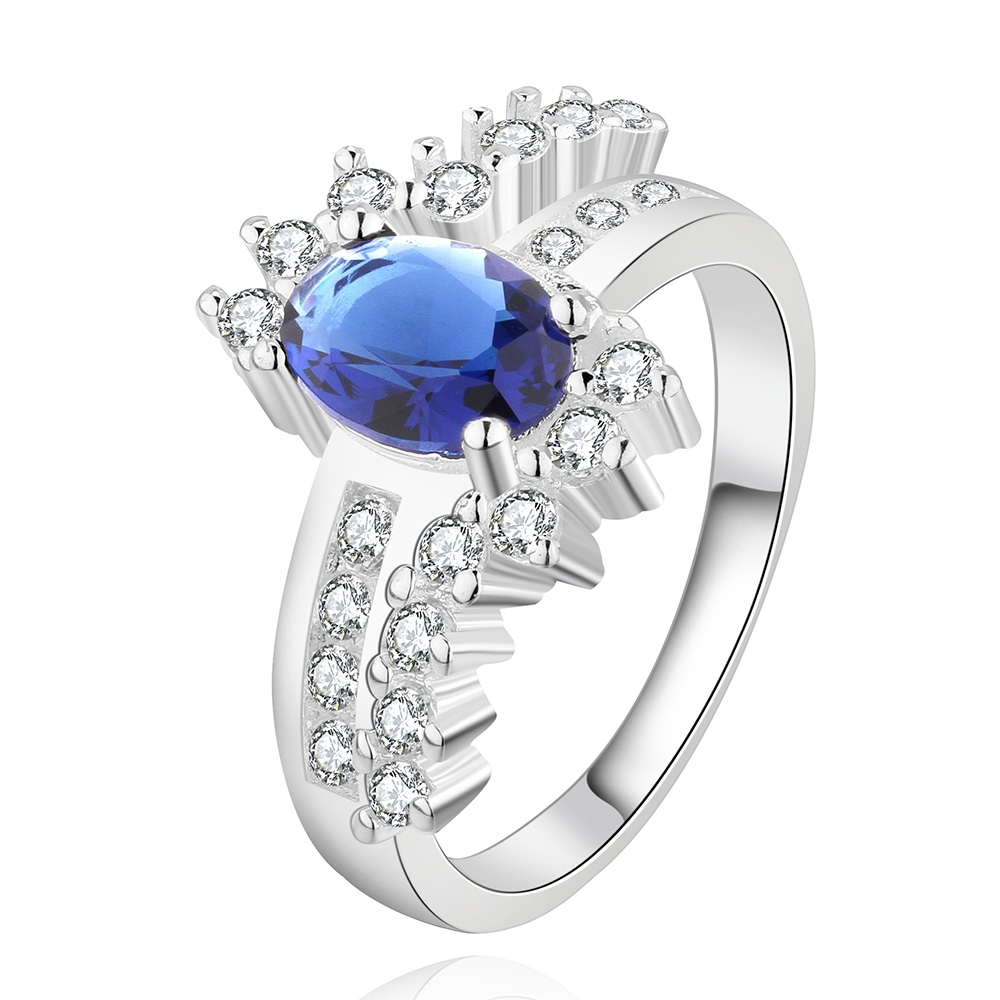 Top quality Silver Plated & Stamped 925 For Women cross blue eye with crystal stone for girls wedding Finger Rings Wholesale