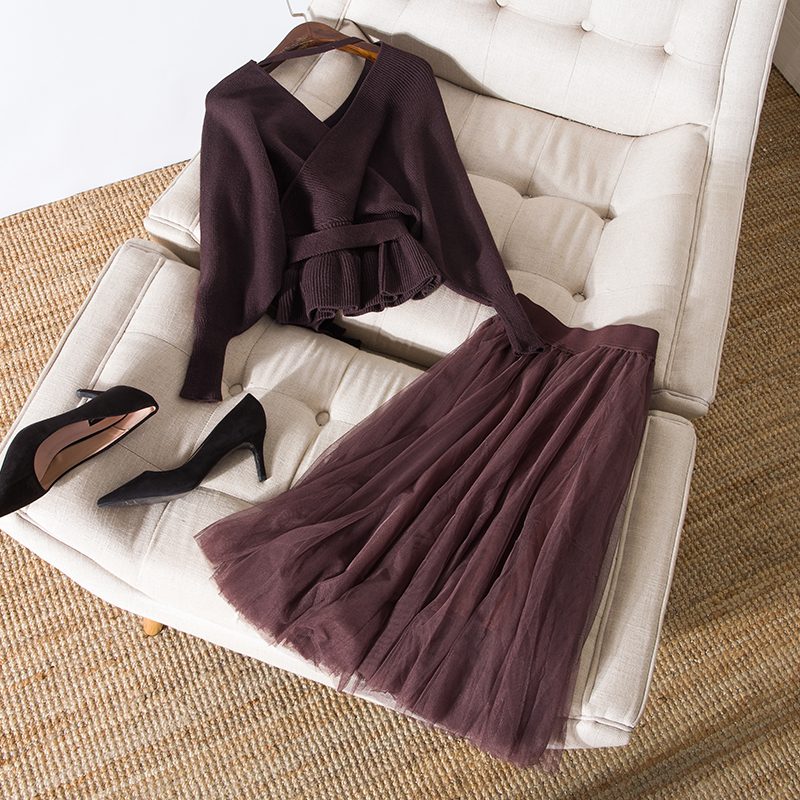 Womens Sexy Kimono V-neck Knit Sweater Tops Backless Pullovers Mesh Tutu Skirts Suits Autumn Winter Two Piece Set 2019 New Brown