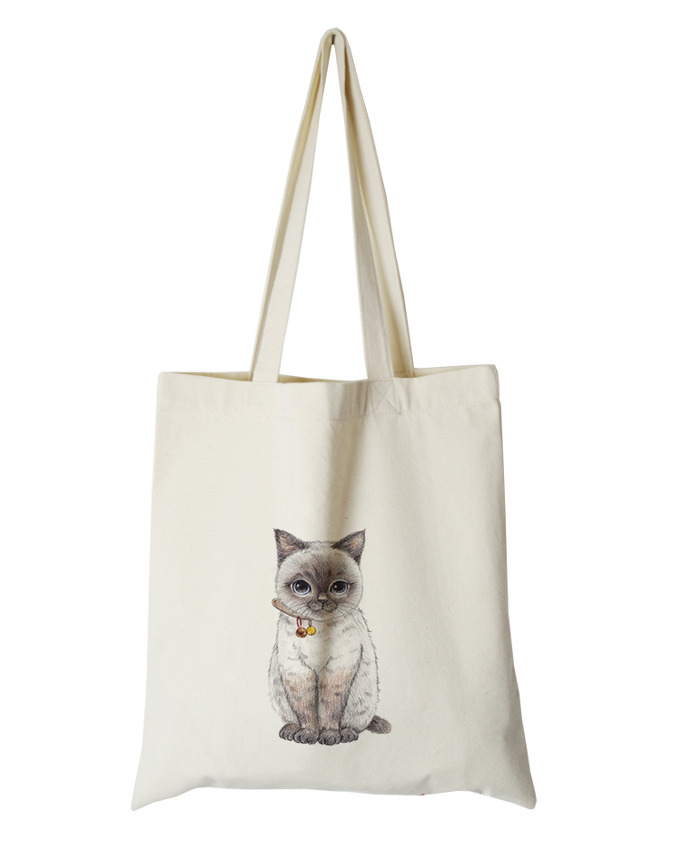 cute cat series canvas custom tote bag customized eco bags custom made shopping bags with logo  Dachshund Shepherd Dog Poodle (11)